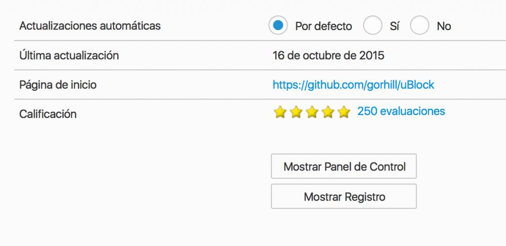 uBlock Origin, Mostrar Panel de Control